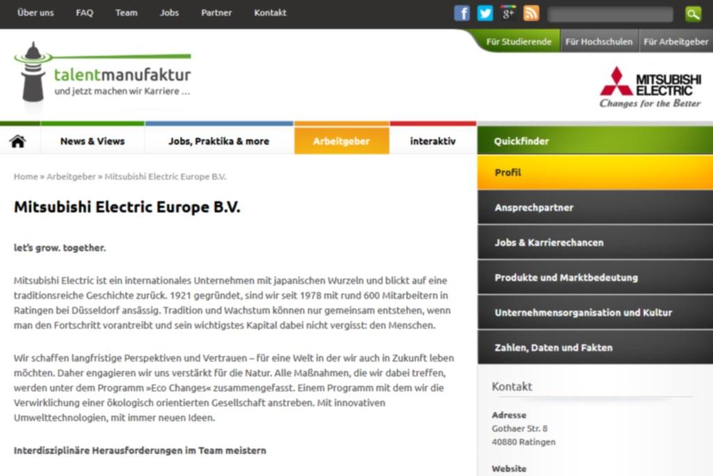 """Mitsubishi Electric Europe B.V. ist der erste Kunde für unsere """"talentmanufaktur"""""""